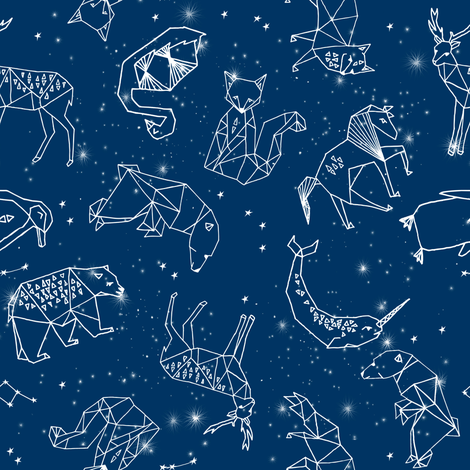 constellations // geometric constellations animals stars night sky navy blue kids room nursery decor cute fabric fabric by andrea_lauren on Spoonflower - custom fabric