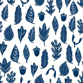 leaves // navy blue leaves kids boys fall autumn leaf linocut outdoors camping