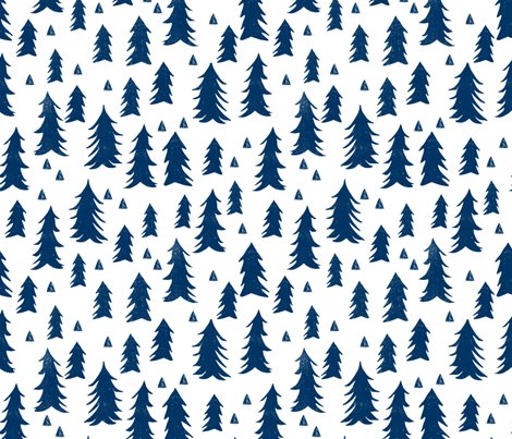 navy blue trees // trees navy kids room triangles fir tree camping outdoors navy blue tree fabric fabric by andrea_lauren on Spoonflower - custom fabric