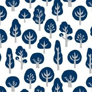 woodland trees // forest trees linocut navy blue grey kids boys woodland camping outdoors kids baby
