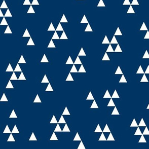 navy blue triangles // triangles kids boys nursery baby kids fabric navy blue design
