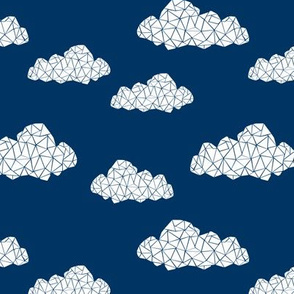 geo cloud // navy blue true navy blue geometric clouds kids nursery baby cute