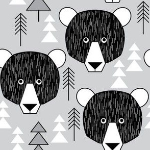 bear geometric on grey