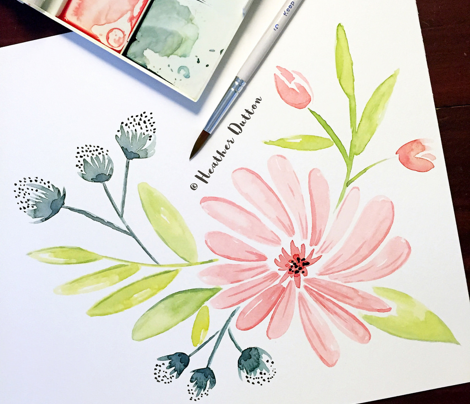 Amelia - Watercolor Floral Pink
