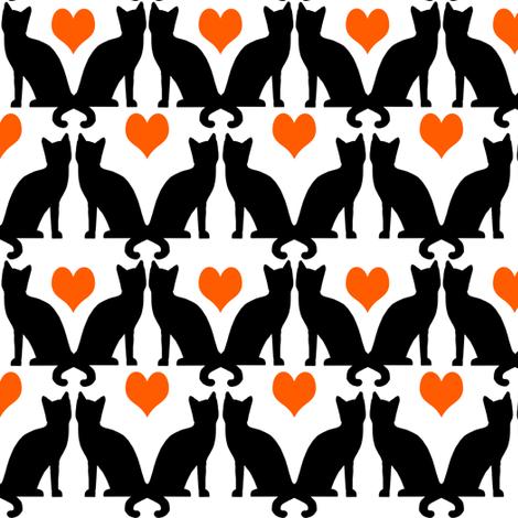 orange black halloween cat cats kids  fabric by charlottewinter on Spoonflower - custom fabric