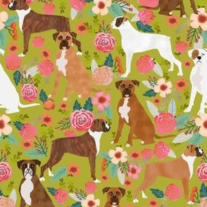 boxer dog flowers florals lime spring cute boxer dog pet pet dog fabric
