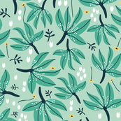 leaves // green white and yellow nursery baby