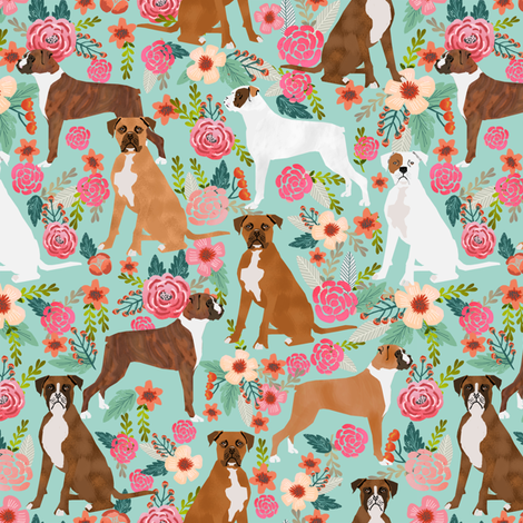 boxer dog flowers florals mint cute flowers trendy painted vintage florals boxer dogs  fabric by petfriendly on Spoonflower - custom fabric