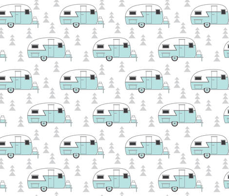 trailer-vintage on white fabric by lilcubby on Spoonflower - custom fabric