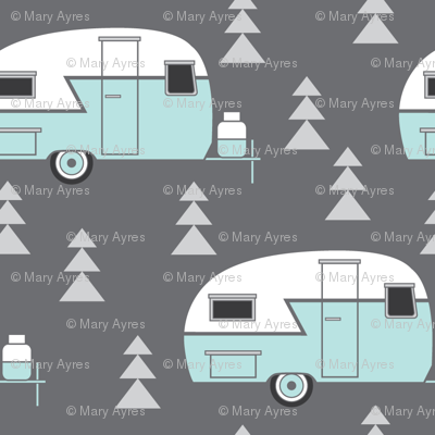 trailer vintage-turquoise on charcoal