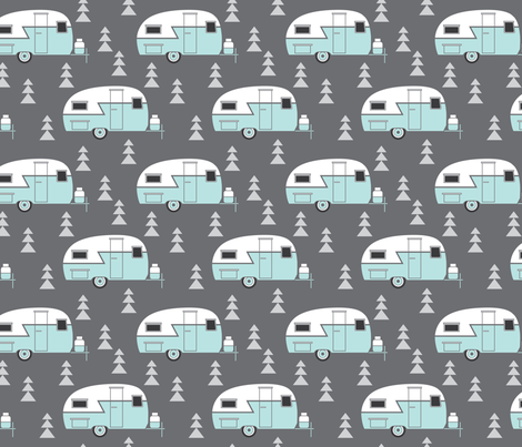trailer vintage-turquoise on charcoal fabric by lilcubby on Spoonflower - custom fabric
