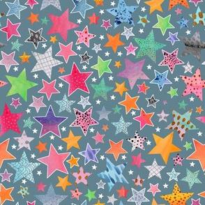 Little Patchwork Stars -steel blue