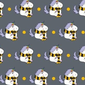 Unicorn Yellow School Wizard on Grey