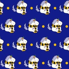 Unicorn Yellow School Wizard on Blue