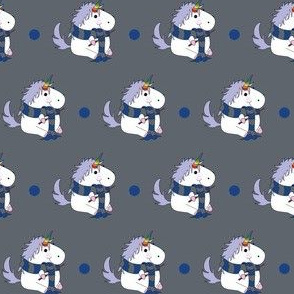 Unicorn Blue School Wizard on Grey