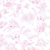Dinosaur Toile in Hot Pink SMALL
