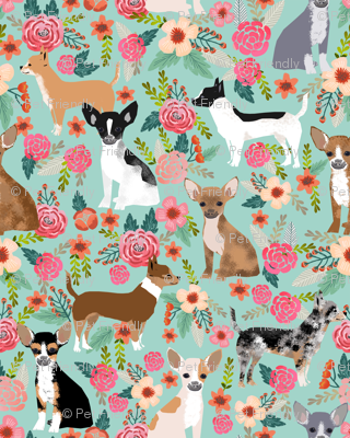 Chihuahua florals fabric cute dogs dog pet dog fabrics for chihuahua lovers sweet mini dogs