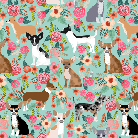 Chihuahua florals fabric cute dogs dog pet dog fabrics for chihuahua lovers sweet mini dogs fabric by petfriendly on Spoonflower - custom fabric