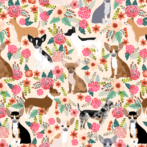 Chihuahua dogs dog cute florals fabric best dog fabric fabric by petfriendly on Spoonflower - custom fabric