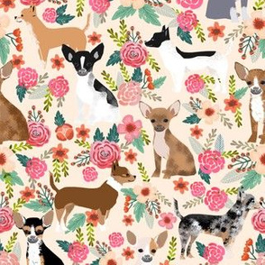 Chihuahua dogs dog cute florals fabric best dog fabric