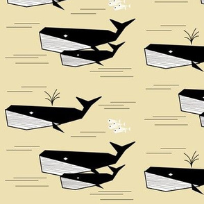 Whales - black and white on pale yellow, geometric, sand, fish, sea, ocean || by sunny afternoon