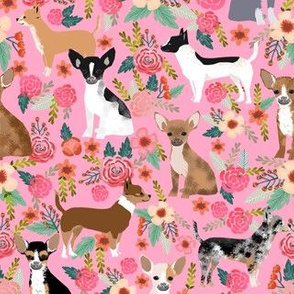 Chihuahua dog dogs florals cute pink nursery baby cute girls pet dog fabric