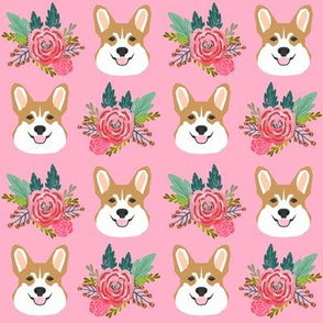 corgi flowers florals head cute flower dog dogs pet dog corgis pink fabric