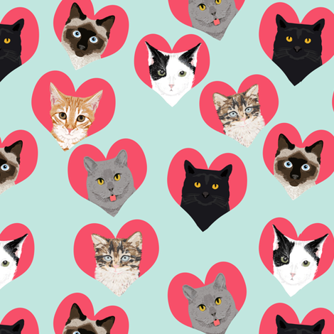 love cats hearts cute kitties cats adorable cat lady fabric  fabric by petfriendly on Spoonflower - custom fabric