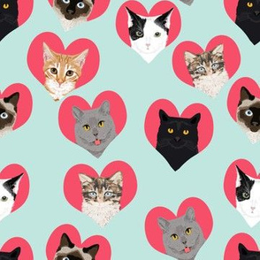 love cats hearts cute kitties cats adorable cat lady fabric