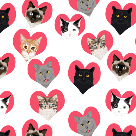love cats hearts cute girls kitten kitty cat fabric for girls cat ladies fabric fabric by petfriendly on Spoonflower - custom fabric