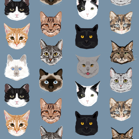 cat faces hello cats kitty cute faces cats fabric fabric by petfriendly on Spoonflower - custom fabric