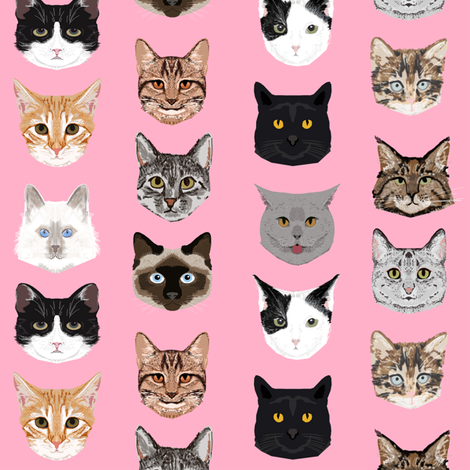 cat faces cute cats sweet kittens kitty cute c at fabrics fabric by petfriendly on Spoonflower - custom fabric