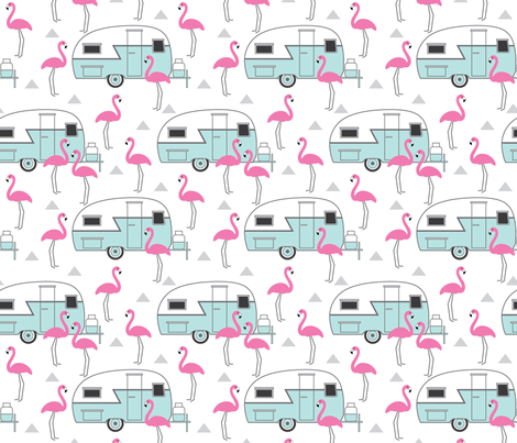 trailers-and-flamingos-on-white fabric by lilcubby on Spoonflower - custom fabric