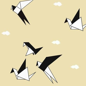 Birds - origami birds monochrome geometric black and white on pale yellow || by sunny afternoon