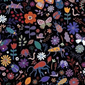 Butterflies, beetles & blooms - black
