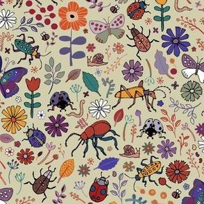 Butterflies, beetles & blooms - taupe