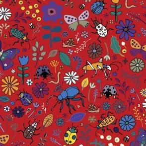 Butterflies, beetles & blooms - deep red