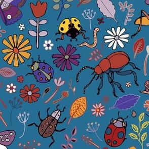 Butterflies, beetles & blooms - blue