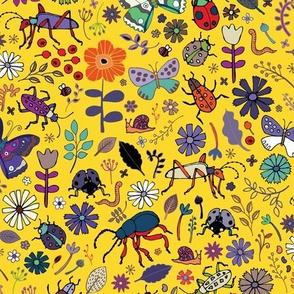 Butterflies, beetles & blooms - Yellow
