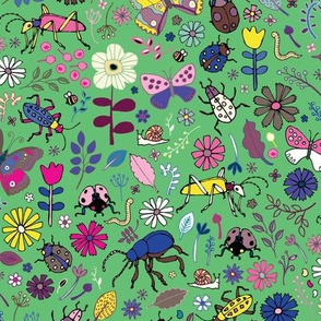 Butterflies, beetles & blooms - mint & pink