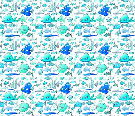 Fast Feeshes White fabric by jantetsutaniart on Spoonflower - custom fabric