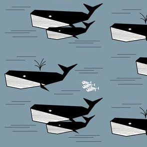 Whales - black and white on dark blue || by sunny afternoon