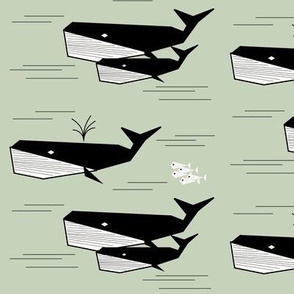Whales - black and white on mint geometric ocean water || by sunny afternoon