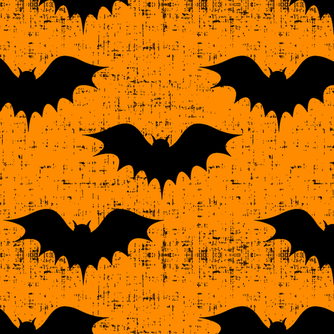 bats on orange  fabric by littlearrowdesign on Spoonflower - custom fabric