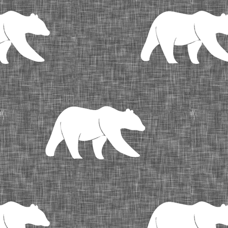bear on linen (large scale) || the lumberjack collection fabric by littlearrowdesign on Spoonflower - custom fabric