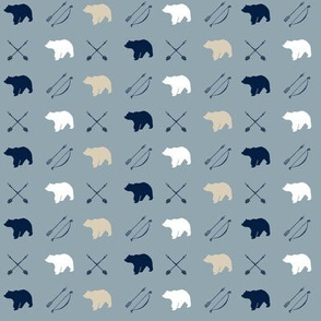 (micro print) Bear and arrows || Rustic Woods Collection