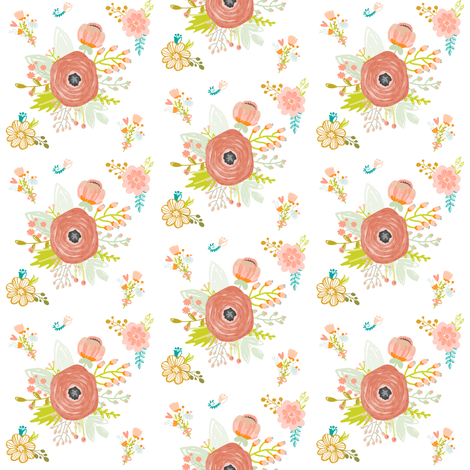 Pretty Peach Pink Blooms Smaller fabric by hudsondesigncompany on Spoonflower - custom fabric