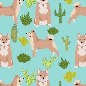 shiba inu mint cactus shiba dog dogs fabric shiba inu cute dogs design