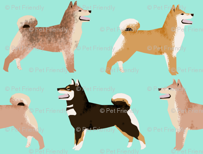 shiba inu dogs coat colors mint cute dogs dog fabric Japanese dogs fabric