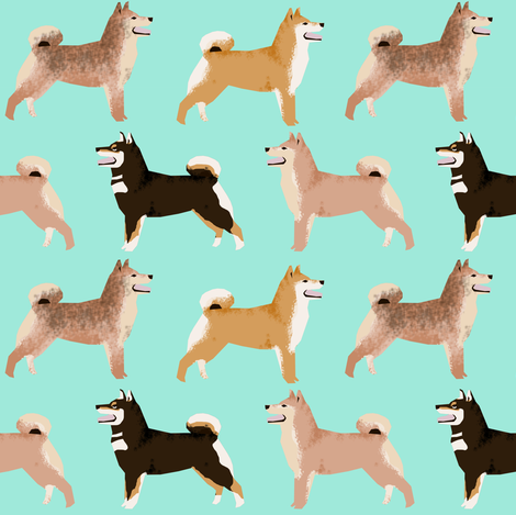 shiba inu dogs coat colors mint cute dogs dog fabric Japanese dogs fabric fabric by petfriendly on Spoonflower - custom fabric